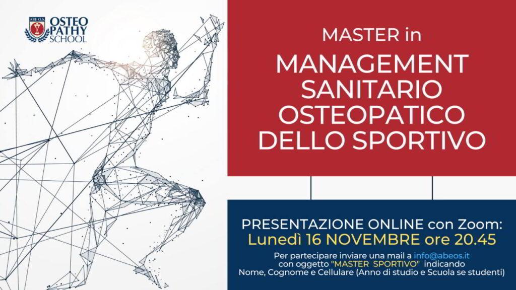 master management sanitario osteopatico dello sportivo